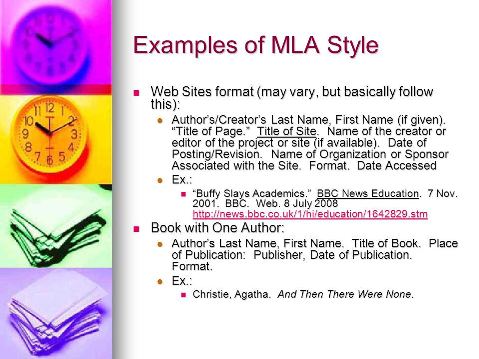 Examples of MLA Style Web Sites format (may vary, but basically follow this):