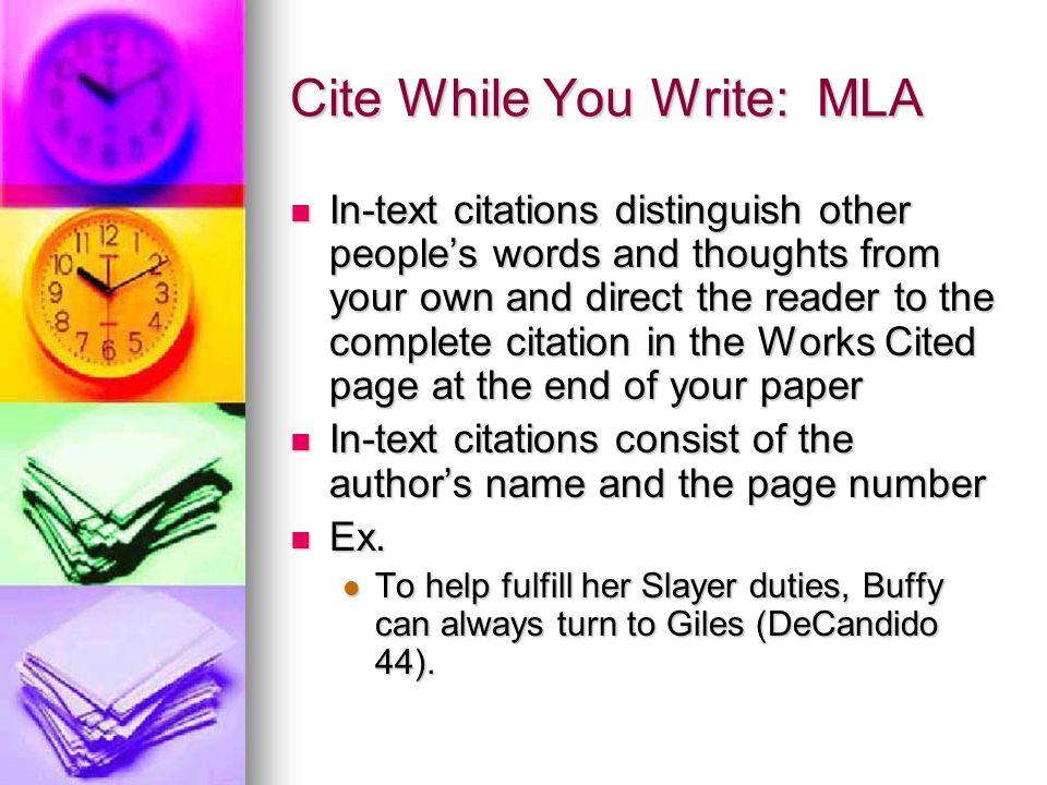 Cite While You Write: MLA