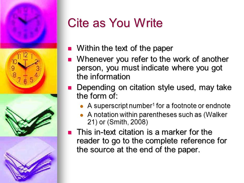 Cite as You Write Within the text of the paper