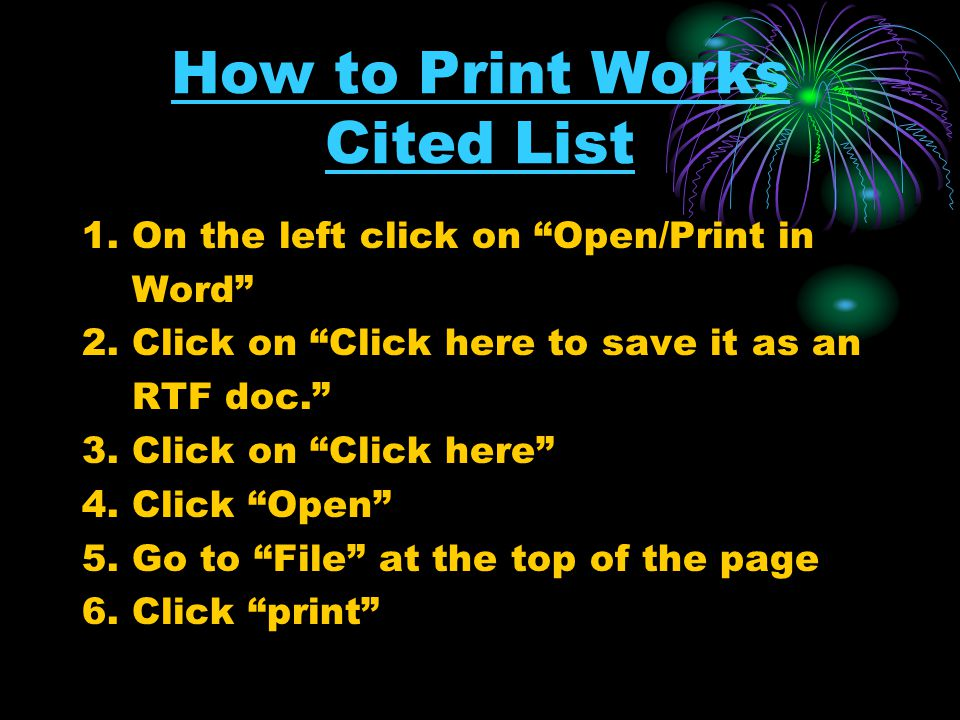 How to Print Works Cited List