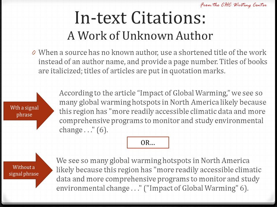 In-text Citations: A Work of Unknown Author