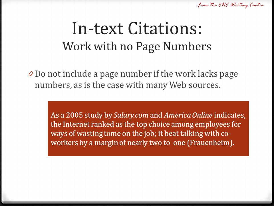 In-text Citations: Work with no Page Numbers