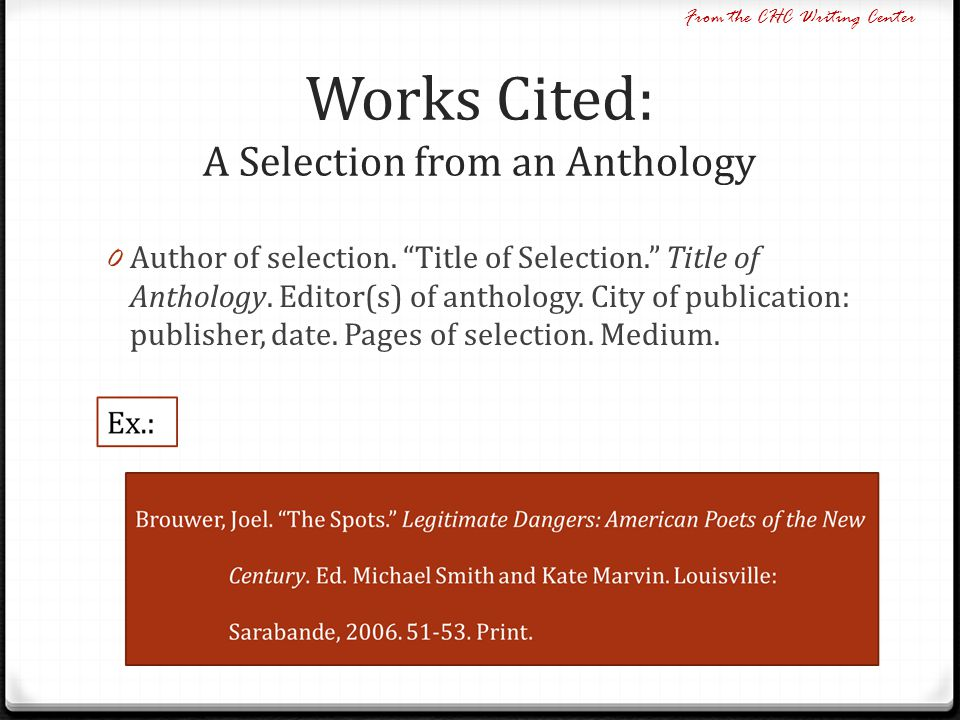 how to write a works cited page for an anthology duane