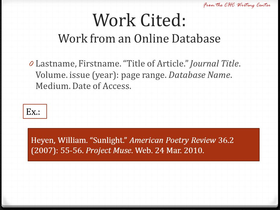 Work Cited: Work from an Online Database