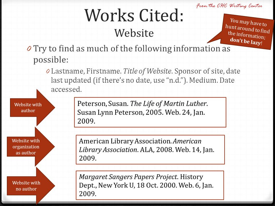 Works Cited: Website From the CHC Writing Center. You may have to hunt around to find the information; don t be lazy!