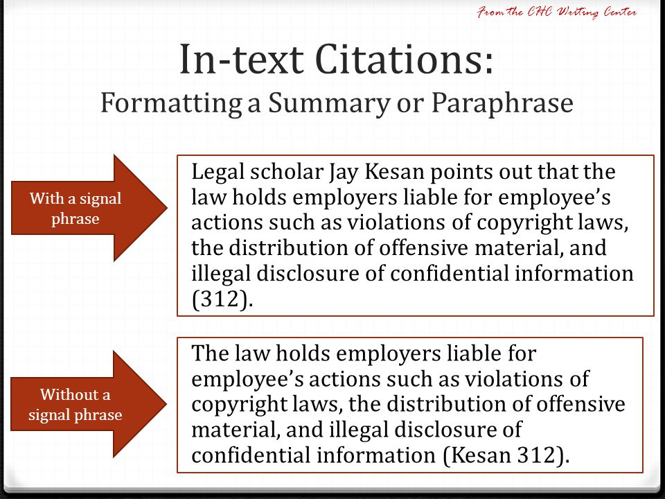 In-text Citations: Formatting a Summary or Paraphrase