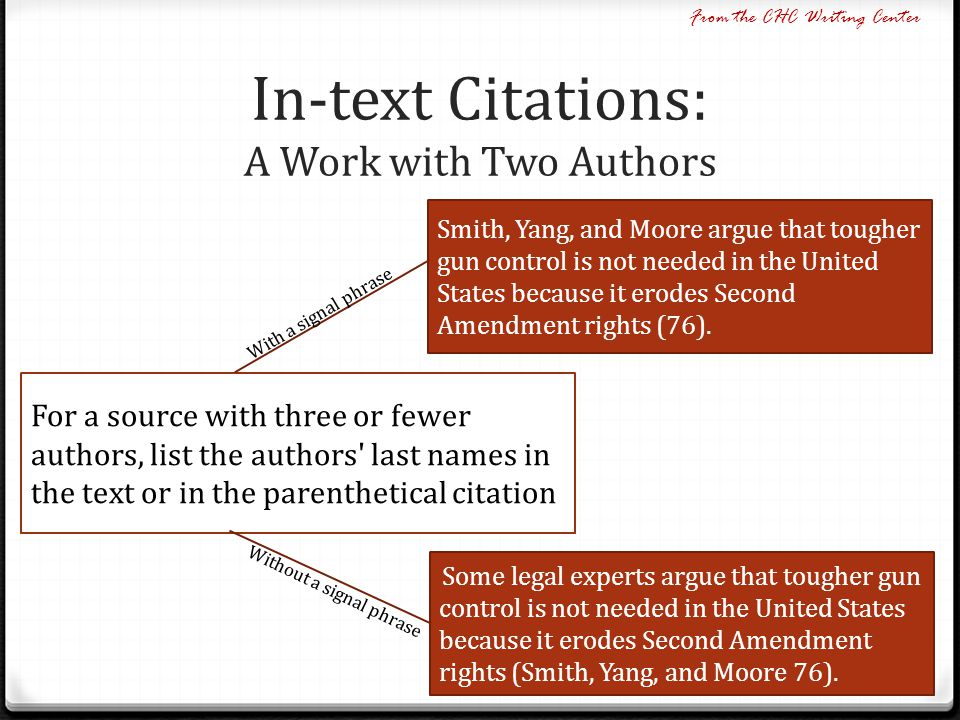 In-text Citations: A Work with Two Authors