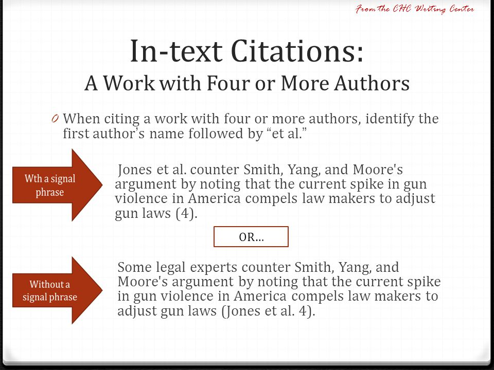 In-text Citations: A Work with Four or More Authors