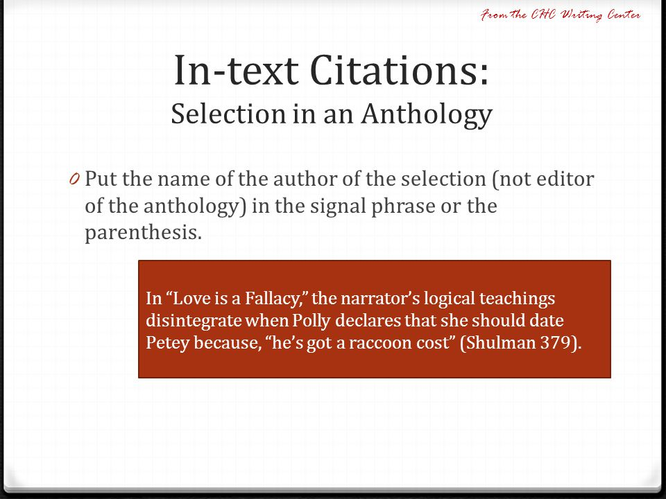 In-text Citations: Selection in an Anthology