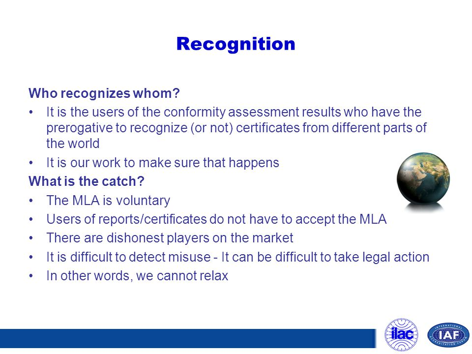 Recognition Who recognizes whom