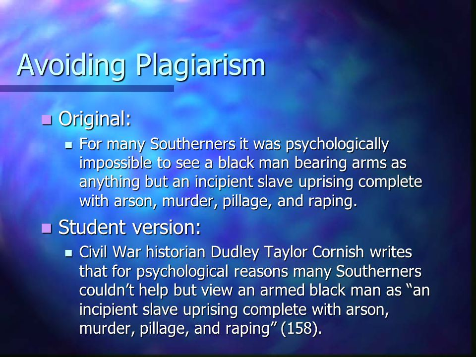 Avoiding Plagiarism Original: Student version: