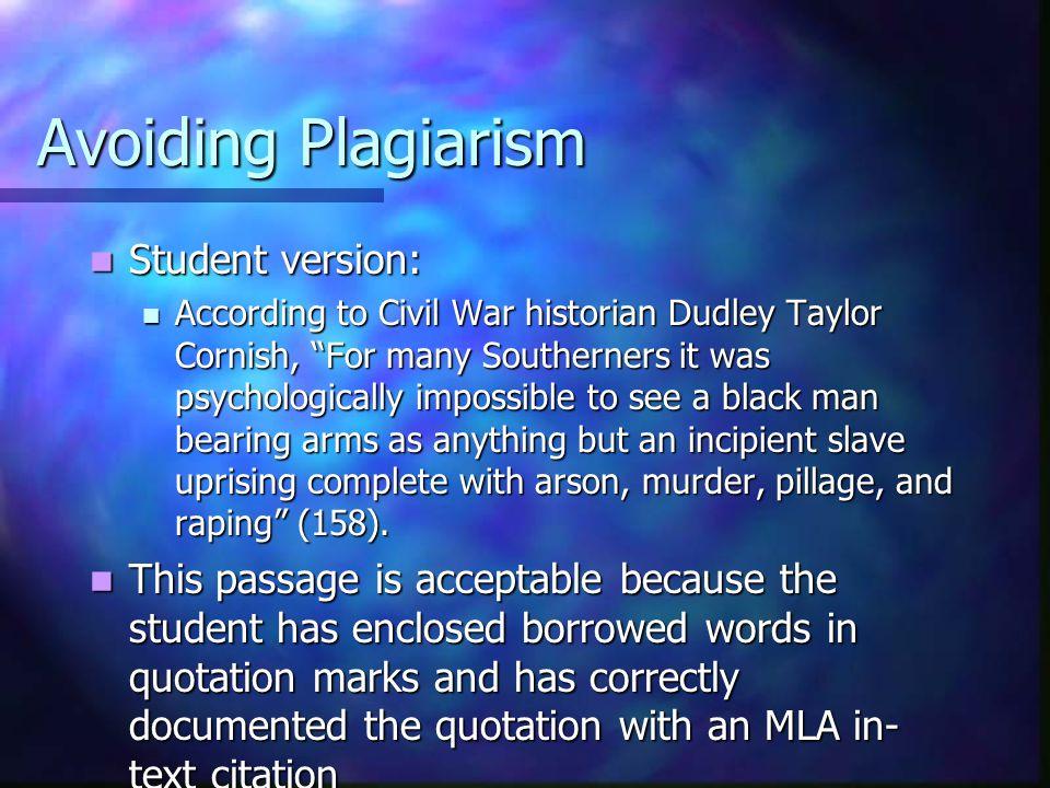 Avoiding Plagiarism Student version: