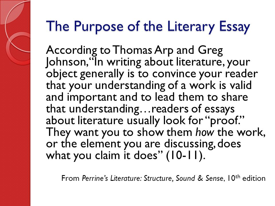 The Purpose of the Literary Essay