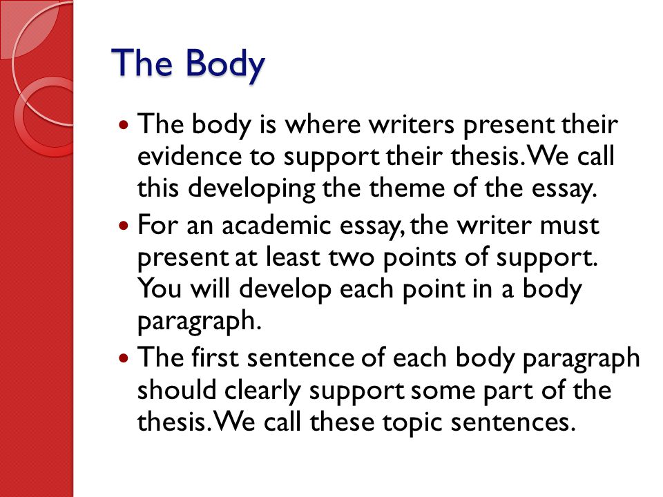 The Body The body is where writers present their evidence to support their thesis. We call this developing the theme of the essay.