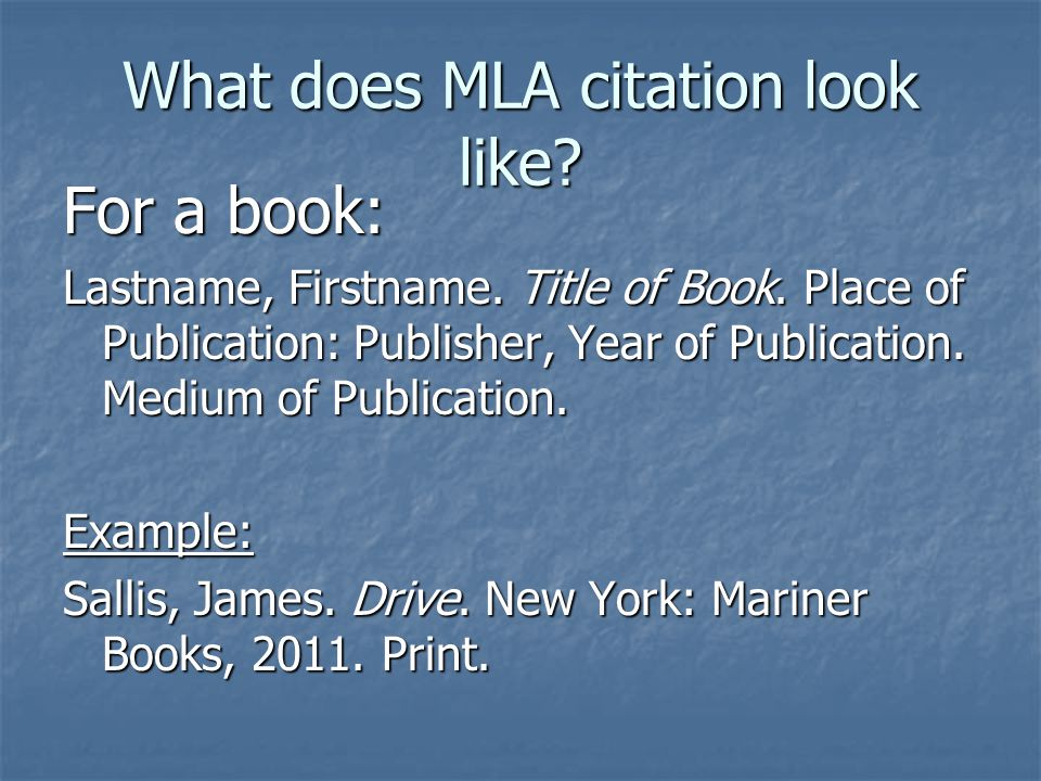 What does MLA citation look like