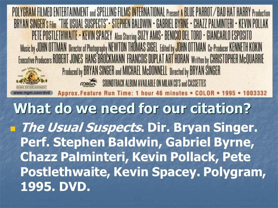 What do we need for our citation