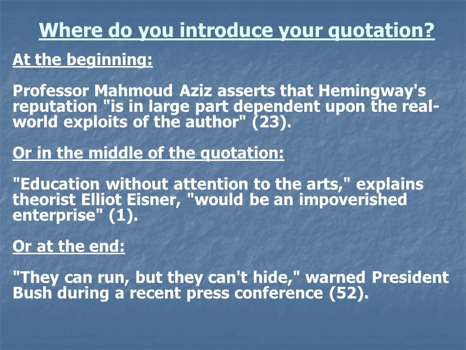 Where do you introduce your quotation