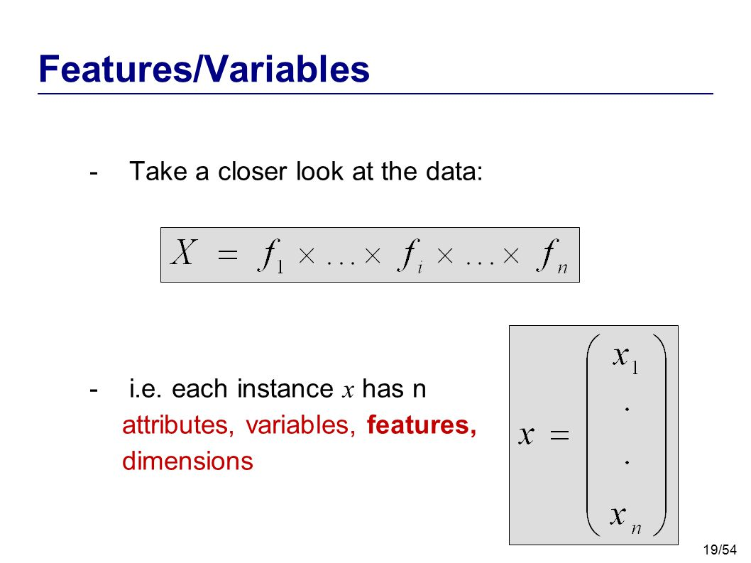 Features/Variables Take a closer look at the data: