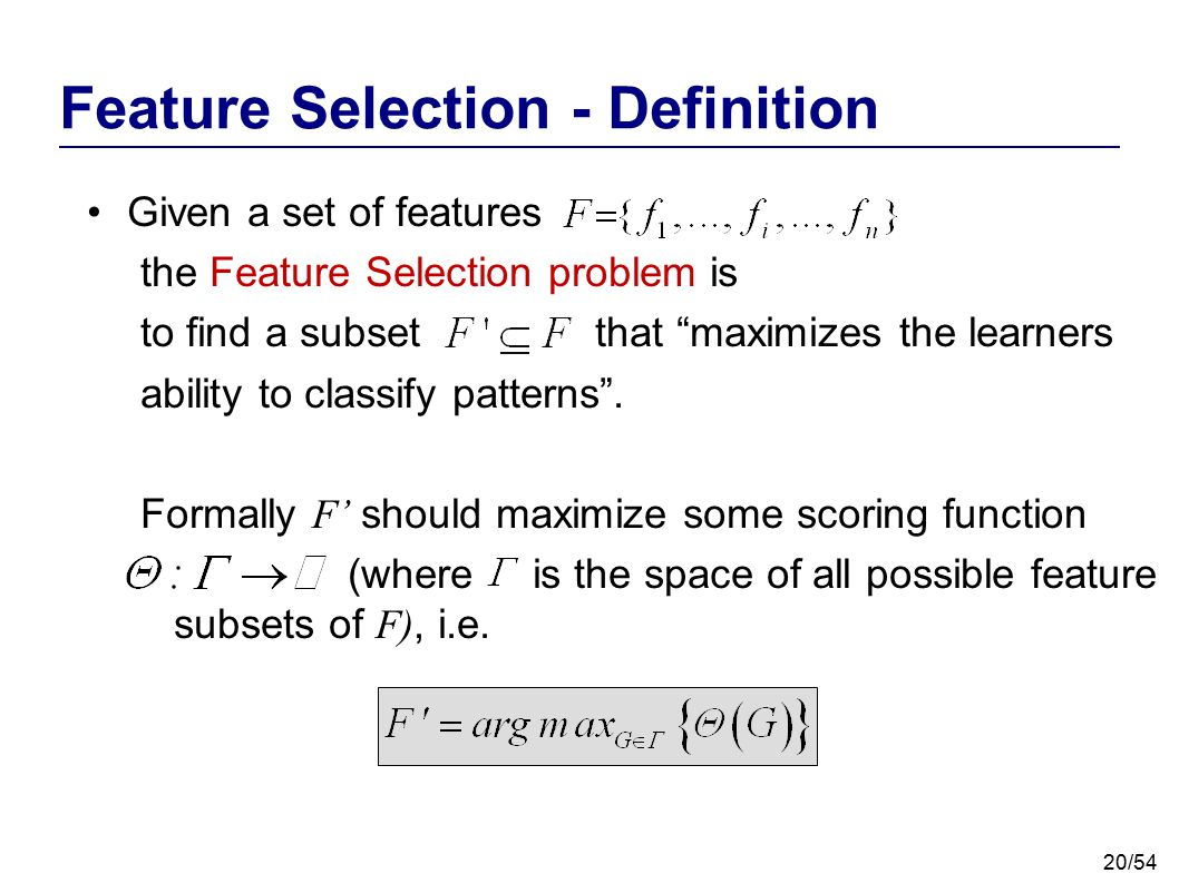 Feature Selection - Definition