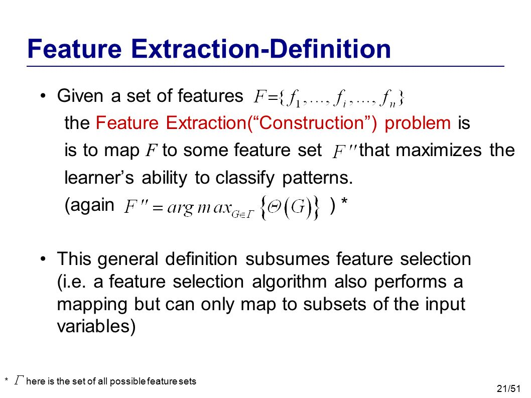 Feature Extraction-Definition