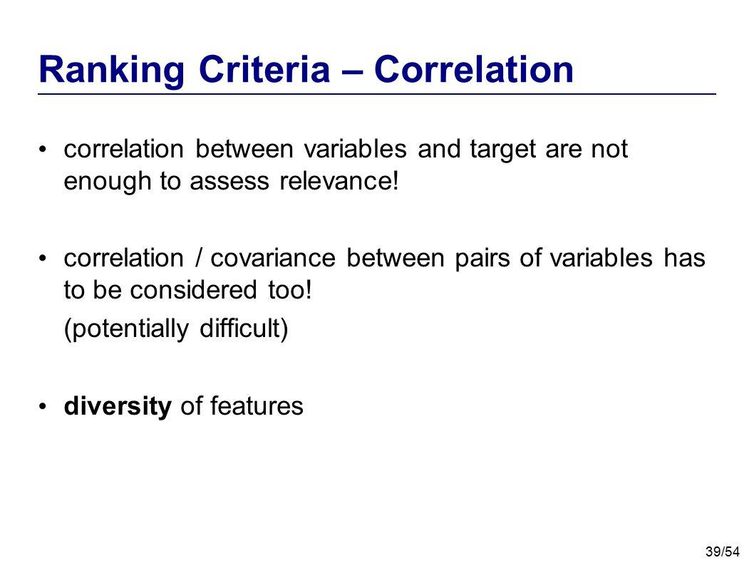 Ranking Criteria – Correlation