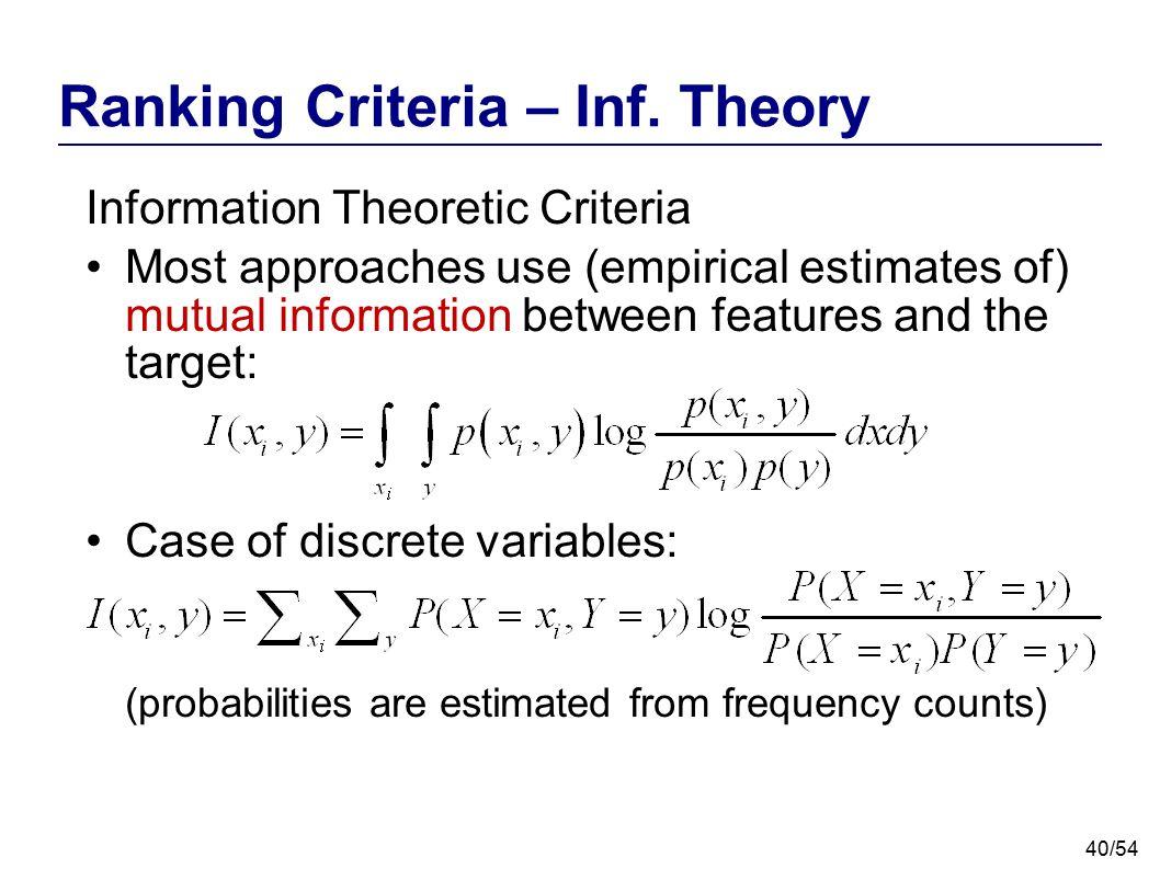 Ranking Criteria – Inf. Theory