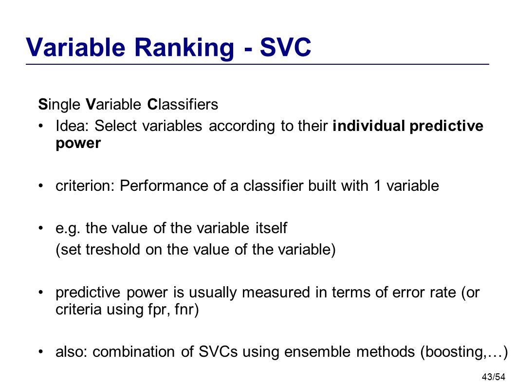Variable Ranking - SVC Single Variable Classifiers
