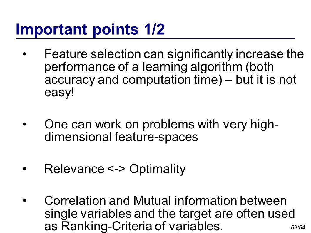 Important points 1/2