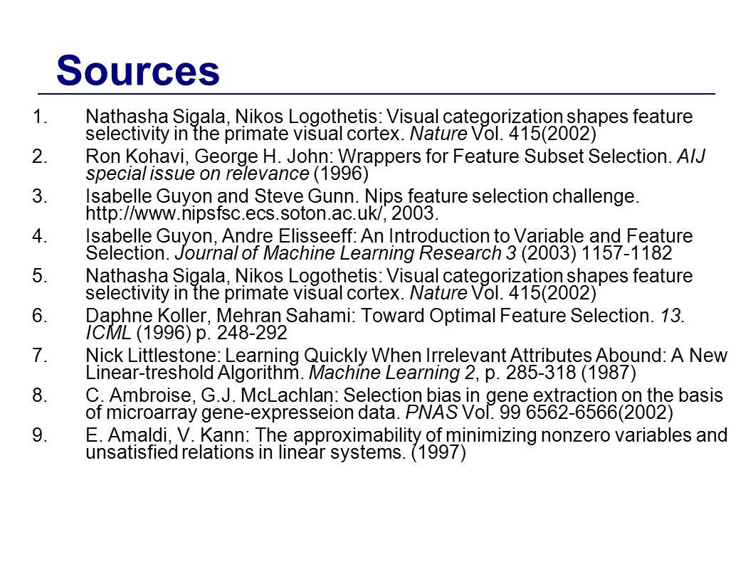 Sources Nathasha Sigala, Nikos Logothetis: Visual categorization shapes feature selectivity in the primate visual cortex. Nature Vol. 415(2002)