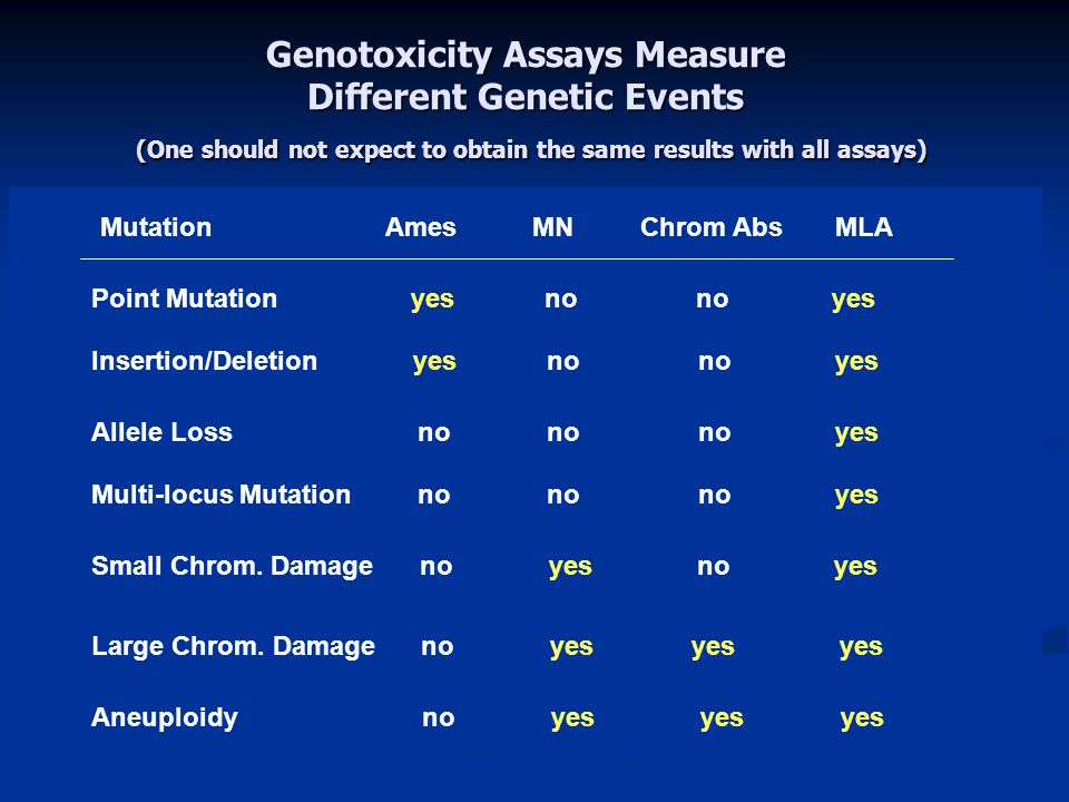 Genotoxicity Assays Measure Different Genetic Events (One should not expect to obtain the same results with all assays)
