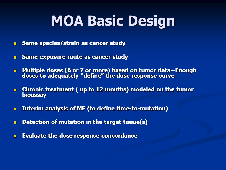 MOA Basic Design Same species/strain as cancer study