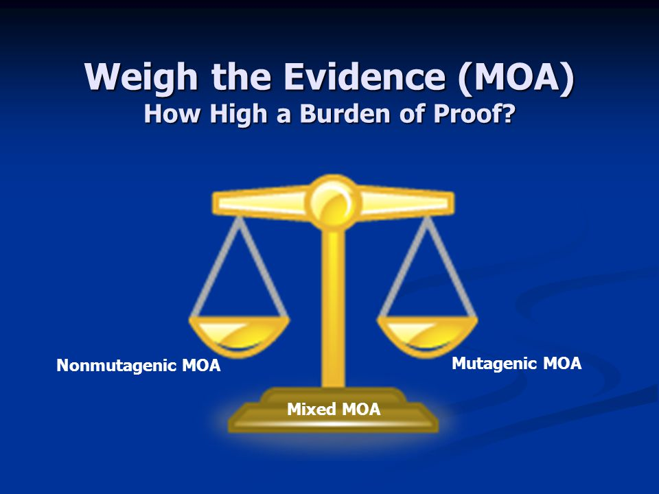 Weigh the Evidence (MOA) How High a Burden of Proof