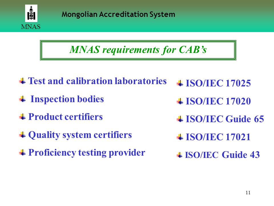 MNAS requirements for CAB's