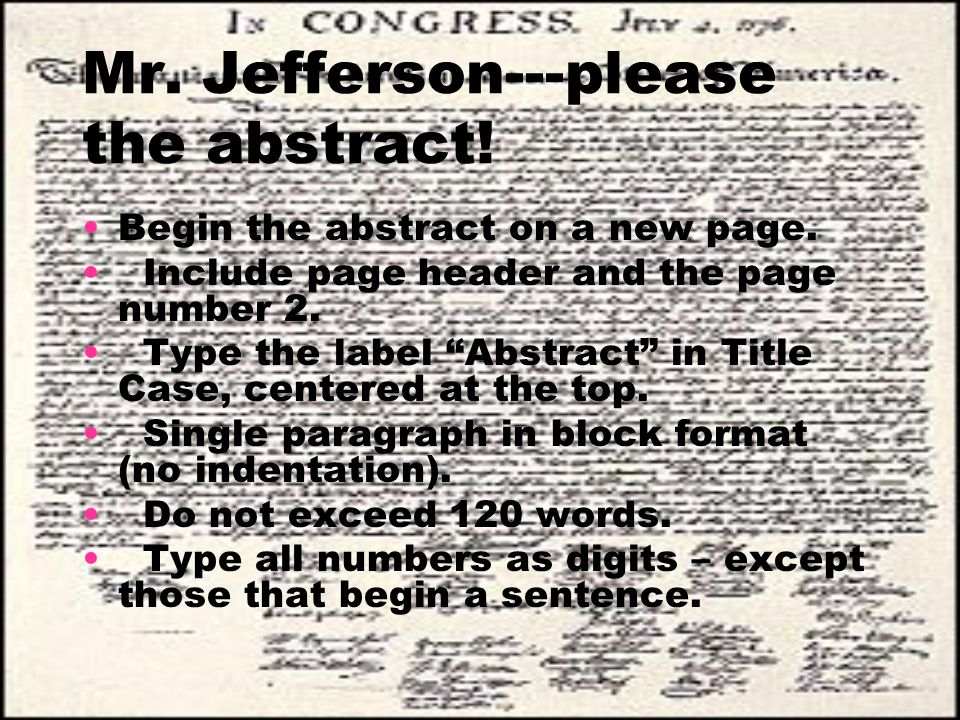 Mr. Jefferson---please the abstract!