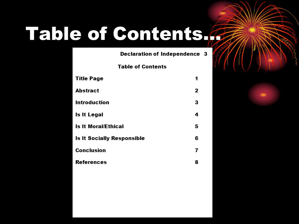 Table of Contents… Declaration of Independence 3 Table of Contents