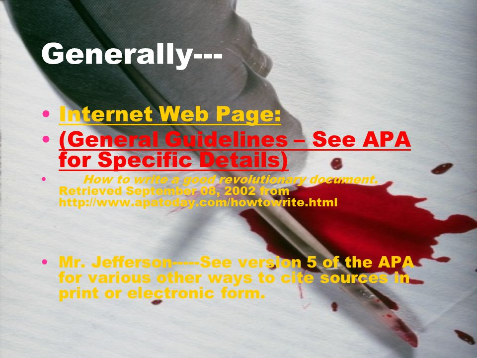 Generally--- Internet Web Page: