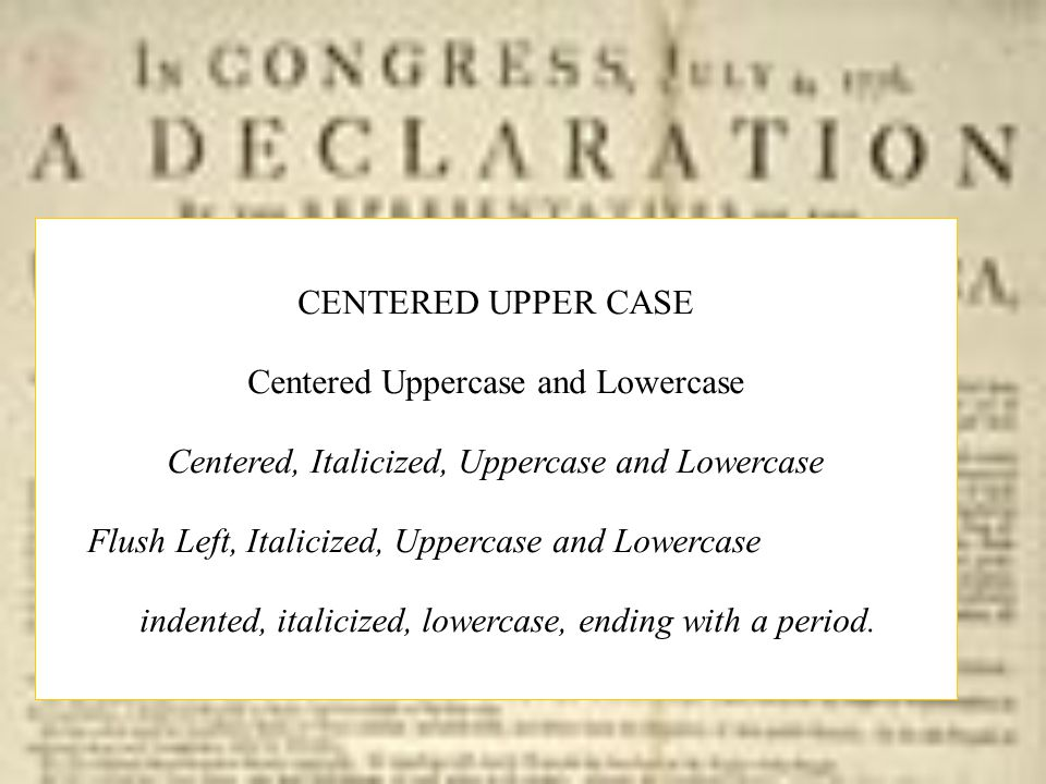 Centered Uppercase and Lowercase