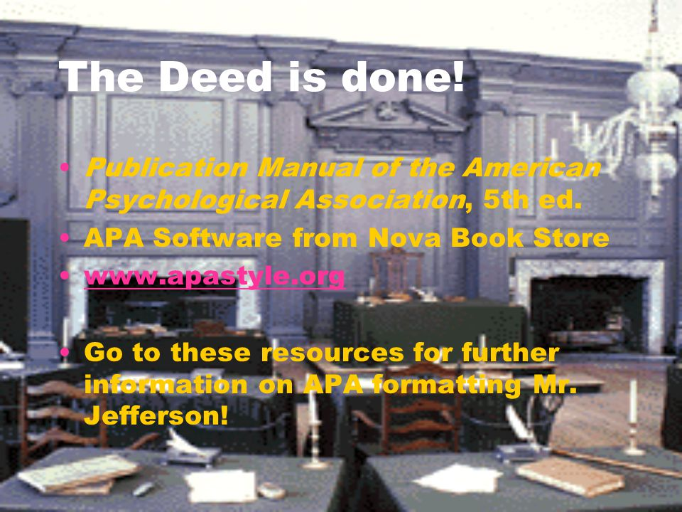 The Deed is done! Publication Manual of the American Psychological Association, 5th ed. APA Software from Nova Book Store.