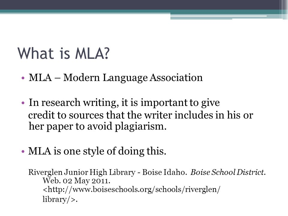 What is MLA MLA – Modern Language Association