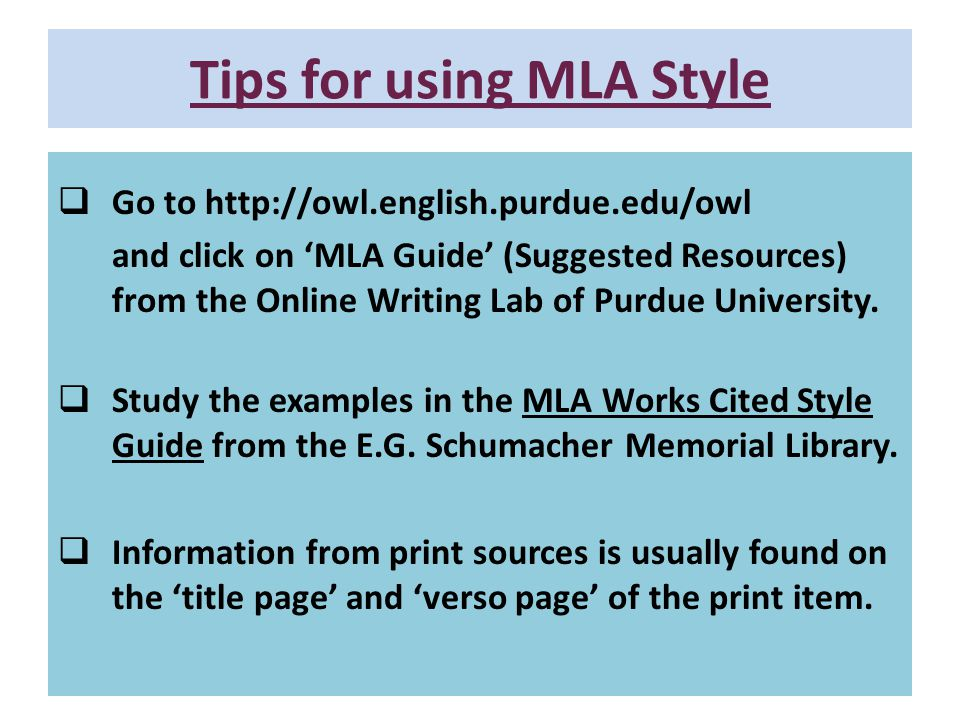 Tips for using MLA Style