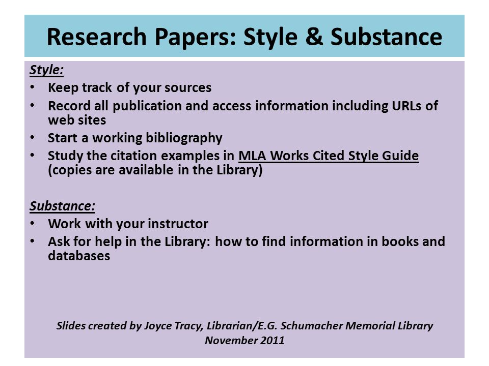 Research Papers: Style & Substance