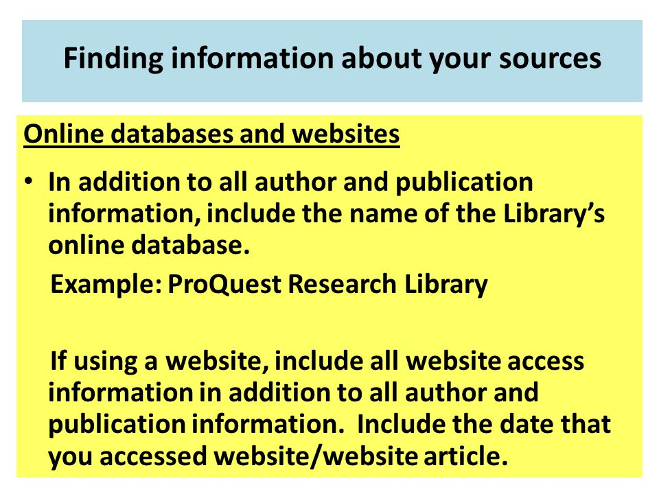 Finding information about your sources