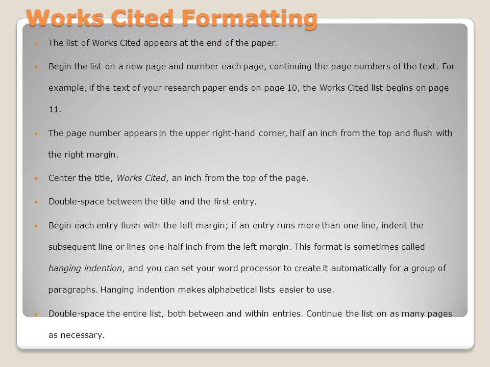 Works Cited Formatting