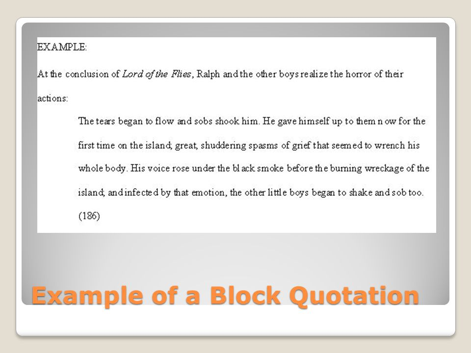 Example of a Block Quotation