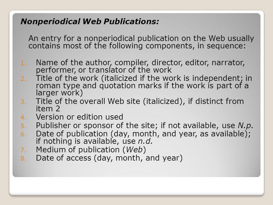 Nonperiodical Web Publications:
