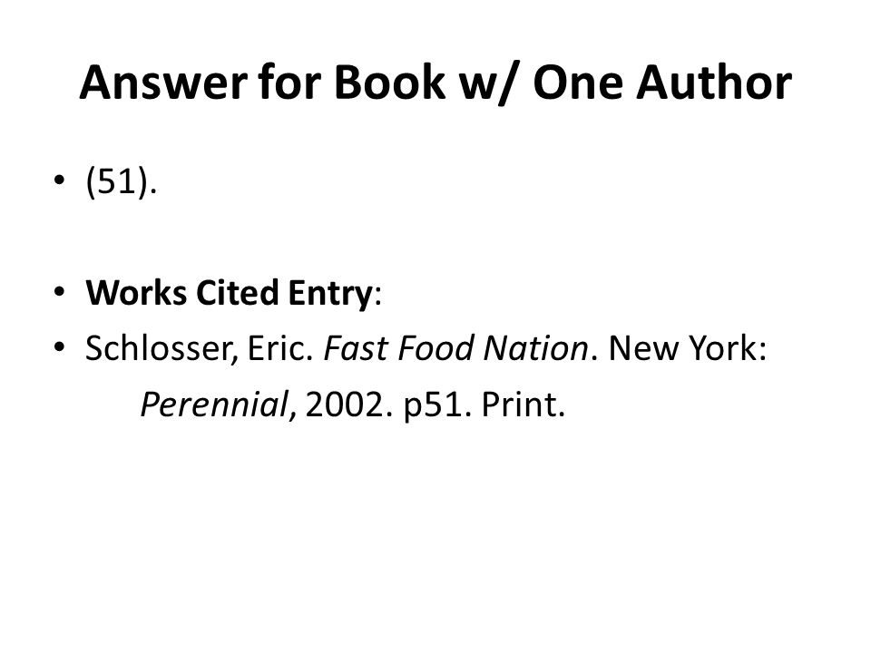 Answer for Book w/ One Author