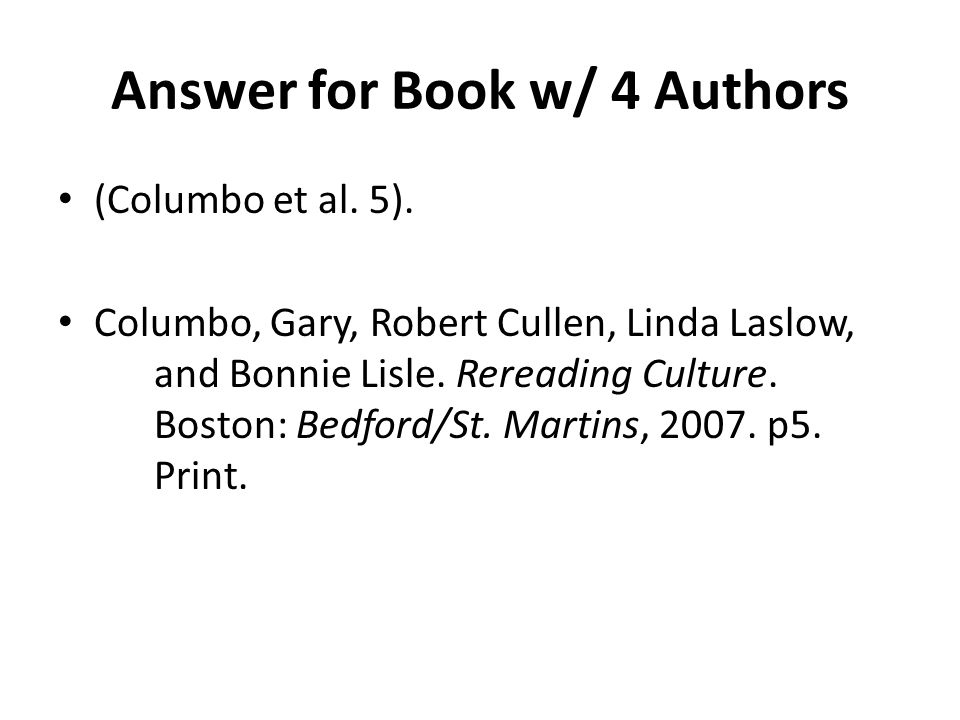 Answer for Book w/ 4 Authors