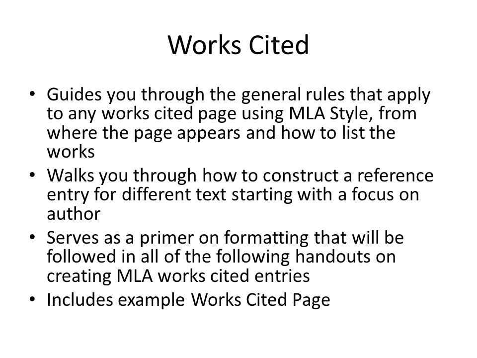 how to format works cited page mla
