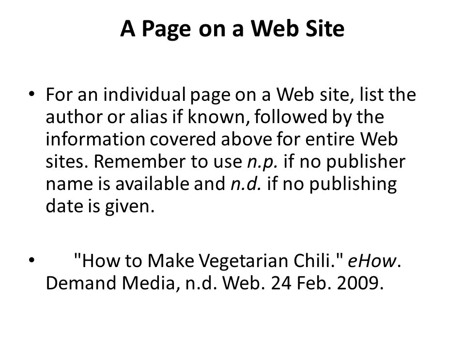 A Page on a Web Site