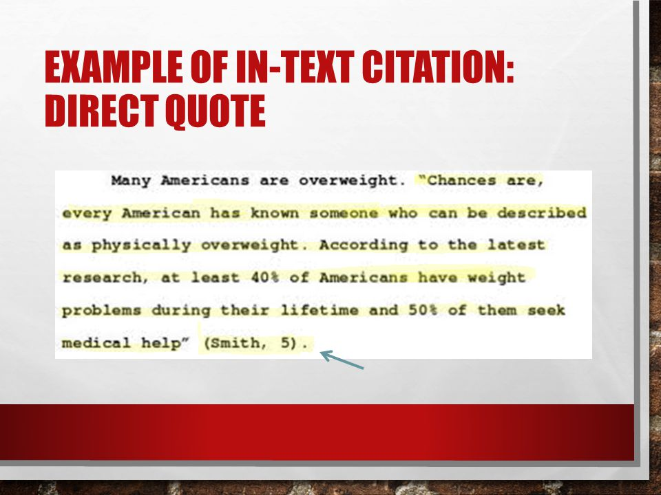 Example of in-text citation: direct quote